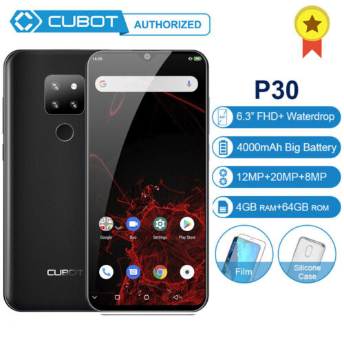 """Android Phone - 6.3"""" Cubot P30 4GB+64GB Mobile Smart Phone Android 9.0 Octa Core 4000mAh 2*SIM"""
