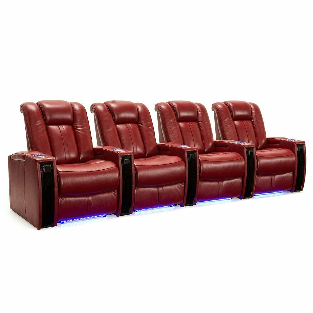 Seatcraft Monaco Red Leather Home Theater Seating Chairs Pow