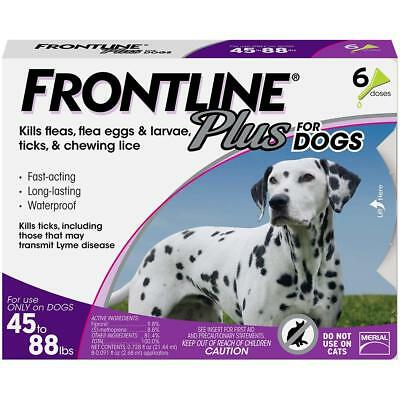 Frontline Plus for Dogs Large Dog(45 to 88lbs) Flea and Tick Treatment, 6 doses