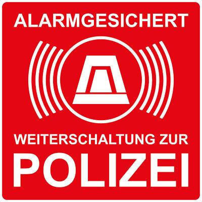 """1x Aufkleber """"Alarmgesichert - Weiterschaltung zur Polizei"""",rot 10x10 cm"""