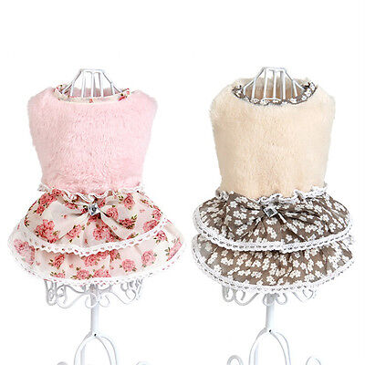 Cute Pet Dog Cat Winter Coat Puppy Warm Bowknot Gem Sweater Skirt Costume Dress