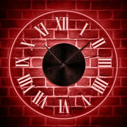 Illuminated Wall Clock Roman Numeral LED Backlight Watch Modern Nightlight Decor