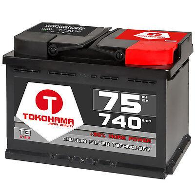 Autobatterie 75Ah +30% mehr Power Starterbatterie extrem Kaltstartleistung 740A