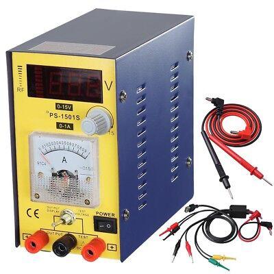 15v1a Precision Variable Dc Power Supply Clip Cable Digital Adjustable Lab Grade
