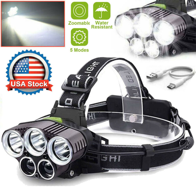 powerful 350000lm 5x led rechargeable headlamp headlight