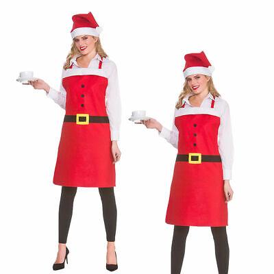 Santa Delantal + Sombrero Rojo Navidad Cocina Accesorio de Disfraz