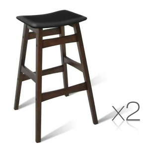 2 x Rubberwood Bar Stools Kitchen Dining Wooden Bar Chairs Island Stools Black
