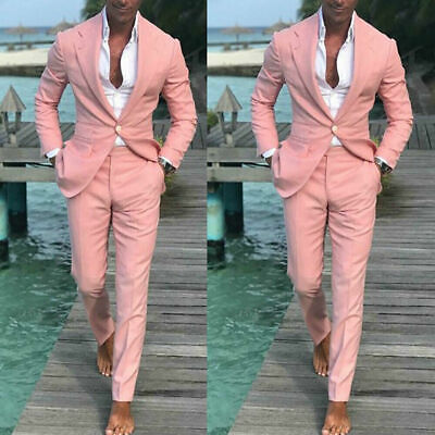 Latest Design Summer Beach Men Pink Suits For Wedding Groom Best Man (Best Suit Design For Groom)