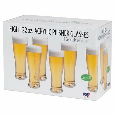 CreativeWare Acrylic Pilsner Beer Glass Set - 8 Pack, Clear, 1