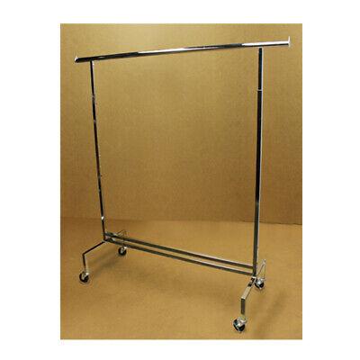 81 Adjustable Single Bar Clothes Hanger Rack Retail Garment Display With Wheels