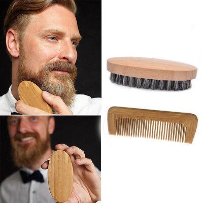 Men Boar Hair Bristle Beard Mustache Brush Military Hard Round Wood And Comb