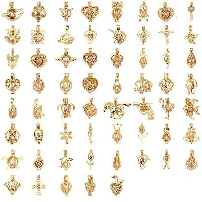 Pearl Bead Necklace Bulk (Bulk! Gold Color Pearl Cage Pendant Random Mix For Oyster Pearl Wish)