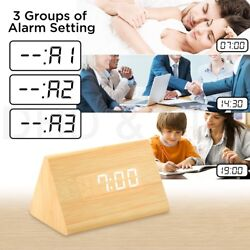 Modern Wooden Wood Digital LED Desk Alarm Clock Thermometer Kids Xmas Gift US KY