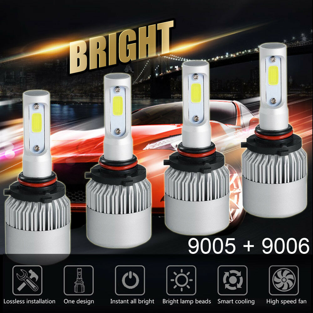 9005+9006 Combo 2600W 390000LM CREE LED Headlight Kit High&Low Beam Light Bulbs