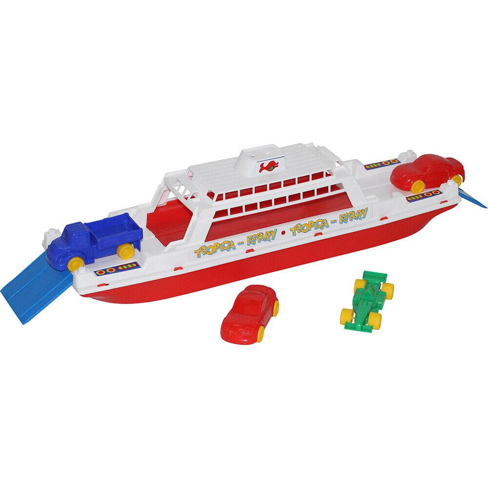 WADER Fähre 4 Autos Kinder Spielzeug Fahrzeug Boot Spielzeugauto Wasserspielzeug