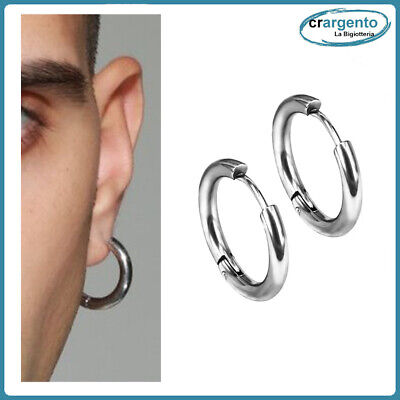 orecchini cerchio uomo acciaio inox piccoli da a in cerchietti lobo per spessi