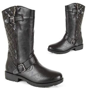 Womens-Black-Leather-Look-Block-Heel-Riding-Biker-Ladies-Mid-Calf-Combat-Boots