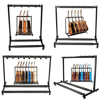 3 5 7 9 Triple Five Seven Multiple Guitar Bass Stand Holder Stage Folding Rack