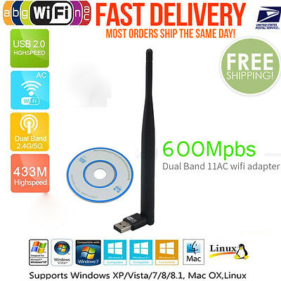 600Mbps Dual Band 2.4/5Ghz Wireless USB WiFi Network Adapter Antenna 802.11AC #1