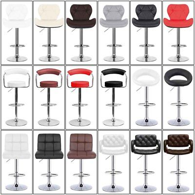 Set of 2 Bar Stools Dining Chair PU Leather Pub Kitchen Heavy Duty Table Seat ()