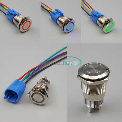 12v 19mm Waterproof Metal 5pin On-off Car Led Push Button Switch And Connector