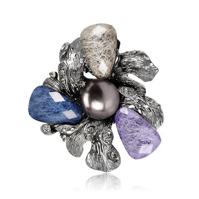 Flower Pearl Multi Color Alloy Acrylic Fashion Scarf Woman Pin and Brooch