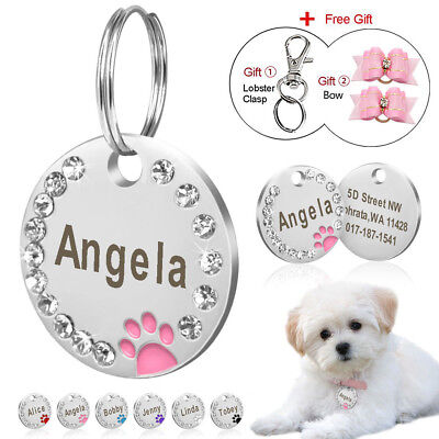 Personalized Dog Tags Paw Rhinestone Pet Cat ID Name Tag Engraved Free Hair Bows - Engravable Dog Tags