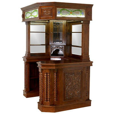 Solid Mahogany Corner Home Bar Furniture w Tiffany Glass Canopy Antique Replica