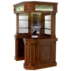 SALE - Mahogany Corner Bar Furniture w Real Tiffany Glass Canopy Antique Replica
