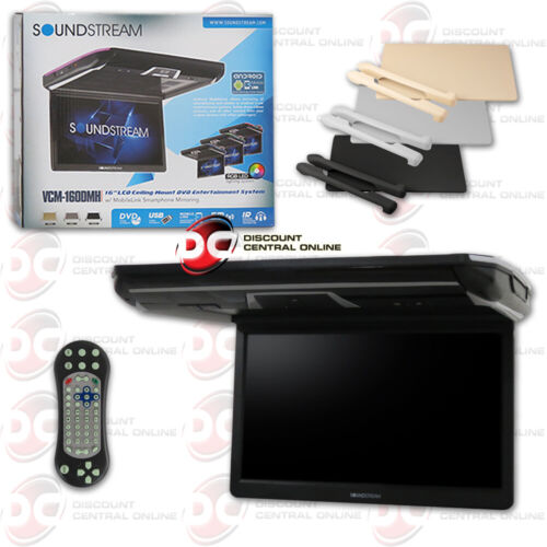 "SOUNDSTREAM VCM-160DMH 16"" OVERHEAD LCD MONITOR W/ DVD PLAYER & MOBILELINK INPUT"