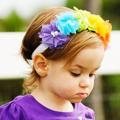 Baby-Blumen-Stirnband -Spitze-Perlen-Haarband  Elastic Turban Regenbogen Tiara
