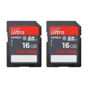2-PACK-SanDisk-Ultra-16-GB-32GB-SDHC-SD-Class-10-30MB-S-200X-Card-UHS-I-HD