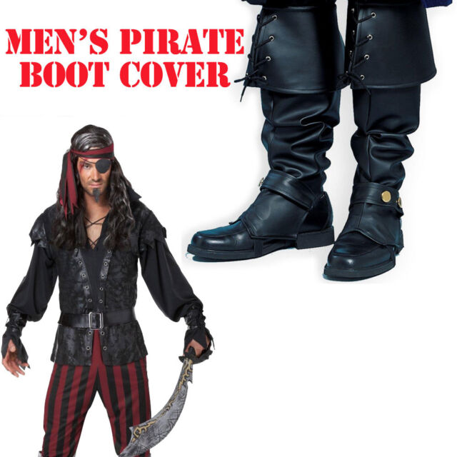 Boot Tops Pirate Costume Accessory Black Adult Men's Buccaneer Shoe Covers