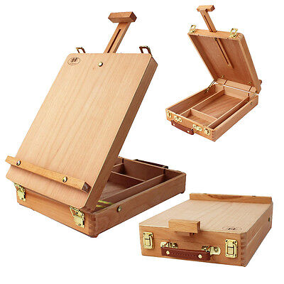 (Wooden French Tripod Easel Portable Sketch Table Box Folding Durable Art Painter)