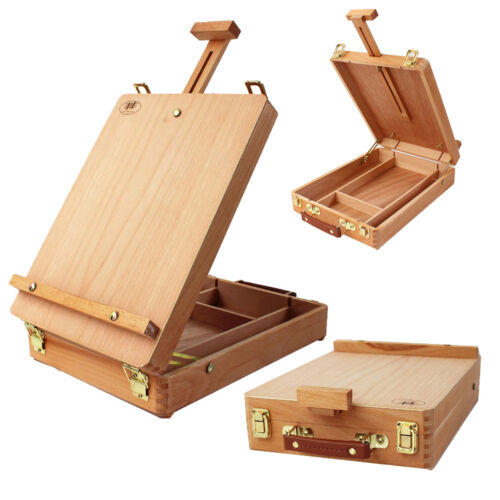 Wooden French Tripod Easel Portable Sketch Table Box Folding