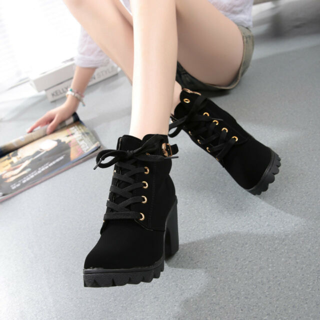 Winter Womens High Heel Lace up Ankle BOOTS Ladies Buckle Platform ...