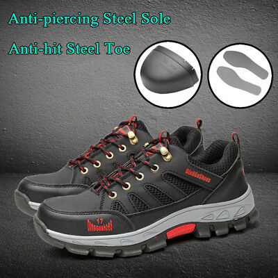 Men's Safety Shoes Steel Toe Steel Sole Breathable Work Hiking Boots US stock
