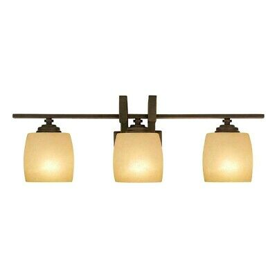 Hampton Bay 3-Light Bronze Vanity Light with Scavo Glass Shade...Model # 25107