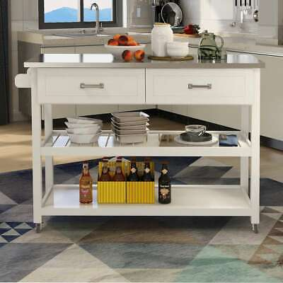 White Kicthen Cart With Stainless Steel Table Top Trolley Cart With Two Drawers - $236.92