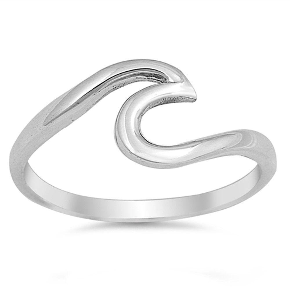 Wave Design Bands: Wave Design Trendy Midi .925 Sterling Silver Ring Sizes 2