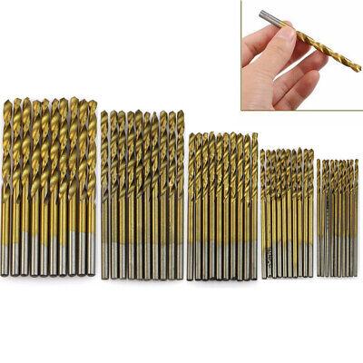 50pcs HSS Métrico Set Brocas Taladro Titanio Recubierto Metal Madera Pack Para