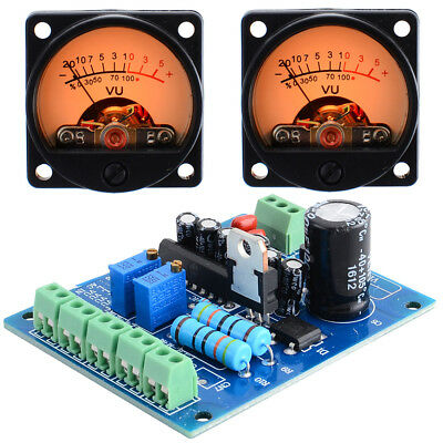 2pcs Analog Vu Meter Panel Kit Backlit Decibellevel Tester With Vu Driver Board