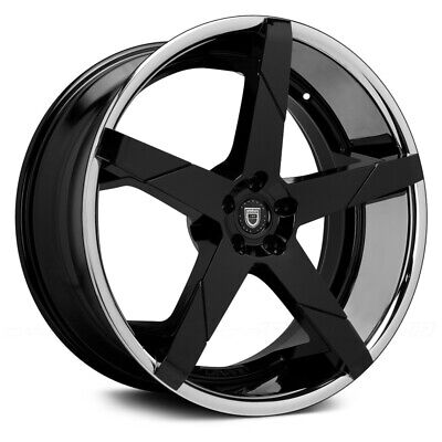 "(4) 24"" 24x9 / 24x10 Staggered 5x120 Lexani Invictus Black Wheels Rims BMW 7"
