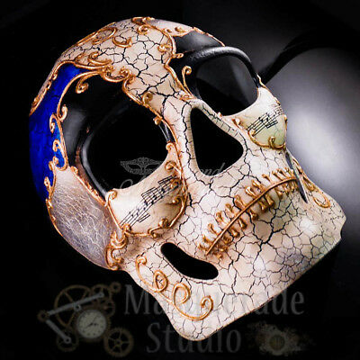 Men's Full Face Musical Skull Day of the Dead Halloween Masquerade Mask [Blue] (Day Of The Dead Halloween Faces)