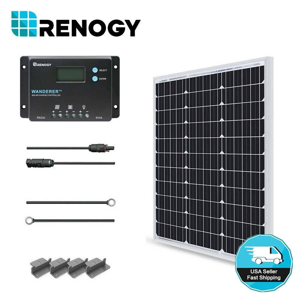 Renogy 50W Watt Solar Panel Starter Kit 12V Battery Charger