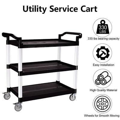 3-shelf Utility Cart Commercial Garage Storage Rolling Service Heavy Duty 330lbs