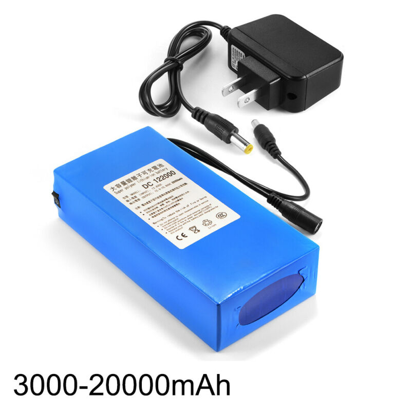 12V 3000-20000mAh Lithium Rechargeable Li-ion Battery Pack+ US PLUG Charger