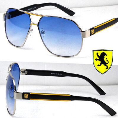 (Khan Mens Womens Fashion Sunglasses Shades Retro Yellow Blue Pilot Aviator Lion)