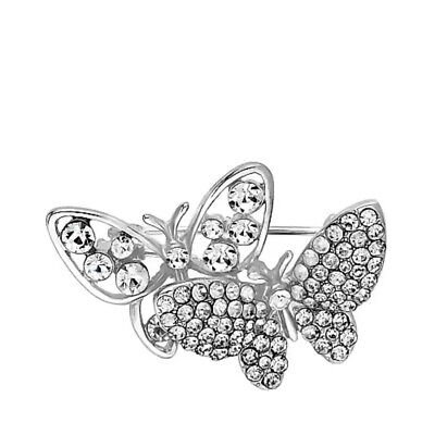 Jon Richard silver and Crystal butterfly Brooches