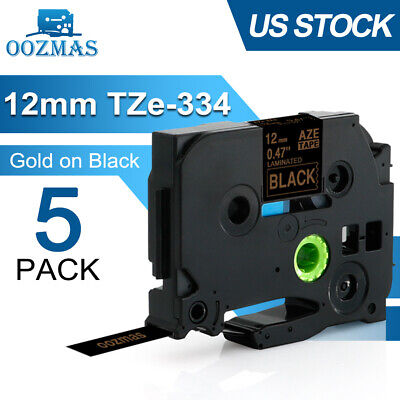 5pk Tze-334 Tz-334 Gold On Black For Brother P-touch Pt-d210 12mm Label Tape